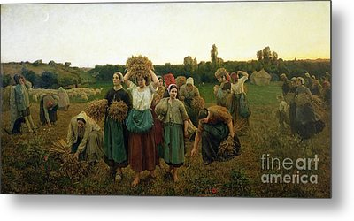 Calling In The Gleaners Metal Print by Jules Breton