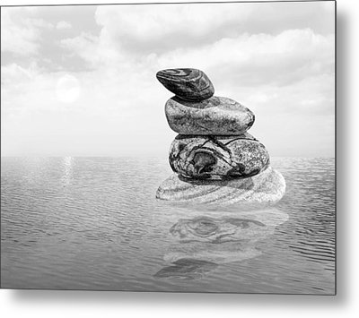 Calm Waters In Black And White Metal Print by Gill Billington