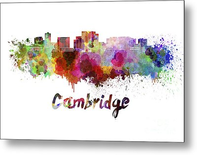 Cambridge Ma Skyline In Watercolor Metal Print by Pablo Romero