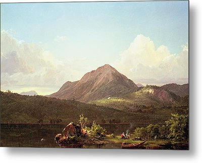 Camp Fire In The Maine Wilderness Metal Print by Frederic Edwin Church