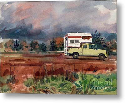 Camper On Pacific Coast Highway Metal Print by Donald Maier