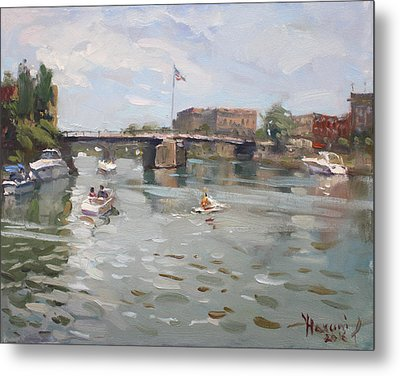 Canal At Tonawanda City Metal Print by Ylli Haruni