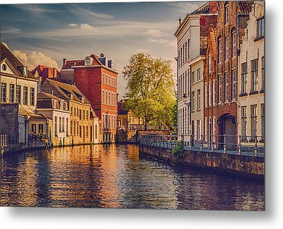 Canal In Bruges Metal Print by Wim Lanclus