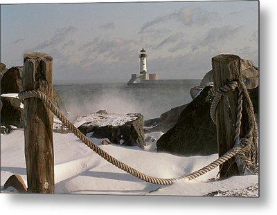 Canal Park Lighthouse Metal Print by Heidi Hermes