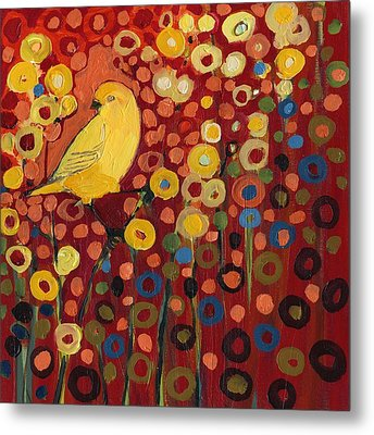 Canary In Red Metal Print by Jennifer Lommers
