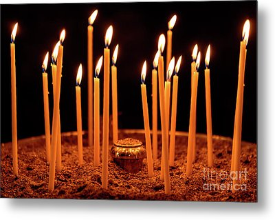 Candles At The Church Of Holy Luke At Monastery Of Hosios Loukas In Greece Metal Print by Global Light Photography - Nicole Leffer