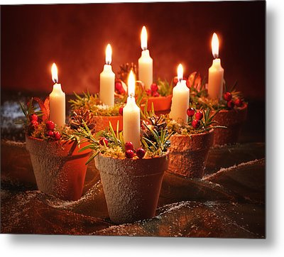 Candles In Terracotta Pots Metal Print by Amanda Elwell