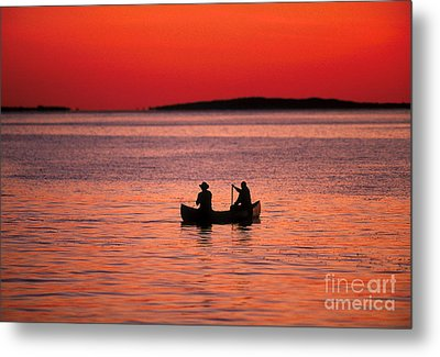 Canoe Fishing Metal Print by John Greim