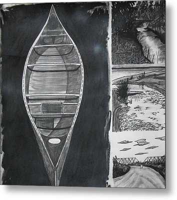 Canoe With Three Rivers Metal Print by Lee Davies