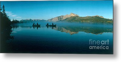 Canoeing On Hector Lake. Alberta, Canada Metal Print by Paolo Koch