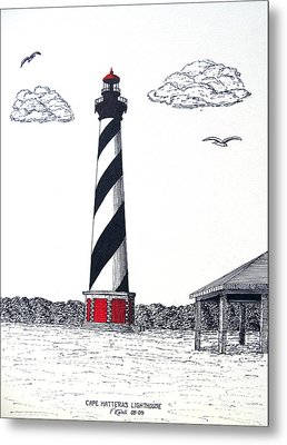 Cape Hatteras Lighthouse Drawing Metal Print by Frederic Kohli