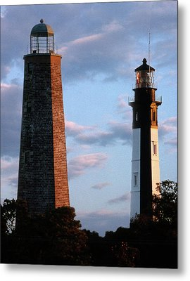 Cape Henry Lighthouses In Virginia Metal Print by Skip Willits
