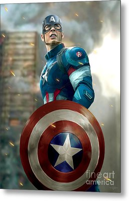 Captain America With Helmet Metal Print by Paul Tagliamonte