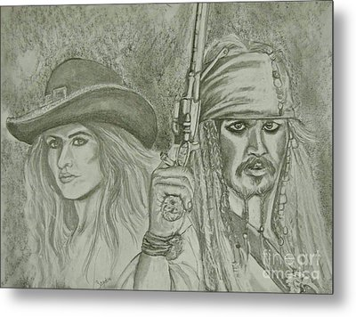 captain Jack Sparrow and Angelica Metal Print by Sandra Valentini