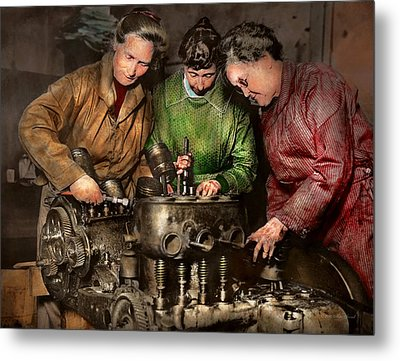 Car Mechanic - In A Mothers Care 1900 Metal Print by Mike Savad