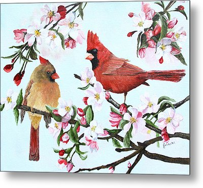 Cardinals And Apple Blossoms Metal Print by Johanna Lerwick
