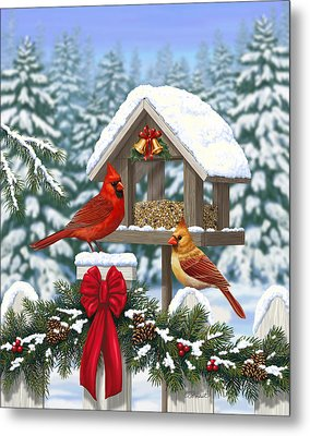 Cardinals Christmas Feast Metal Print by Crista Forest