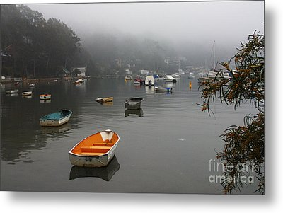 Careel Bay Mist Metal Print by Avalon Fine Art Photography