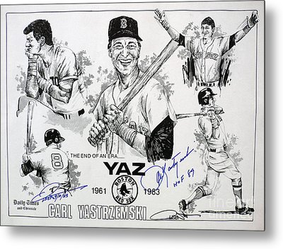 Carl Yastrzemski Retirement Tribute Newspaper Poster Metal Print by Dave Olsen