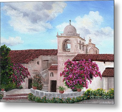 Carmel Mission In Spring Metal Print by Laura Iverson