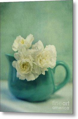 Carnations In A Jar Metal Print by Priska Wettstein