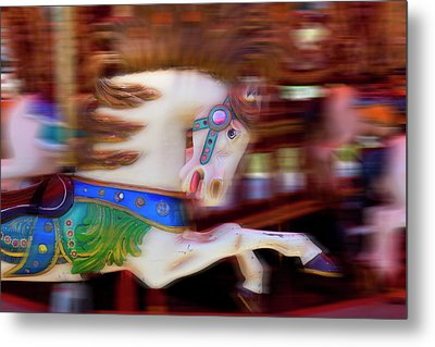 Carousel Horse In Motion Metal Print by Garry Gay