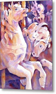 Carousel Horses Metal Print by Joan  Jones