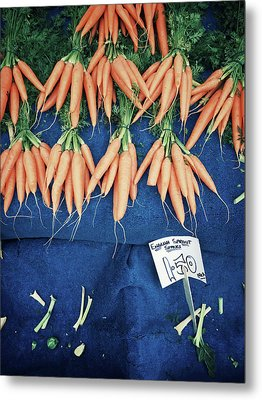 Carrots At The Market Metal Print by Tom Gowanlock