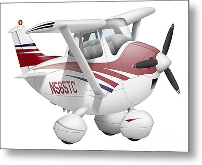 Cartoon Illustration Of A Cessna 182 Metal Print by Inkworm