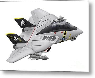 Cartoon Illustration Of A F-14 Tomcat Metal Print by Inkworm
