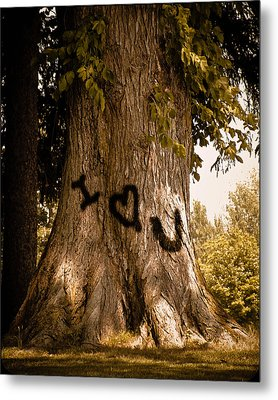 Carve I Love You In That Big White Oak Metal Print by Trish Tritz