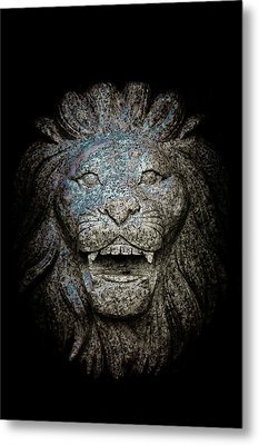 Carved Stone Lion's Head Metal Print by Loriental Photography