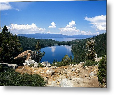 Cascade Lake And Lake Tahoe Metal Print by Troy Montemayor