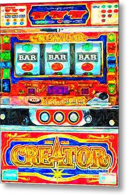 Casino Slot Machine . One Arm Bandit . Triple Bar Bonus Jack Pot Metal Print by Wingsdomain Art and Photography