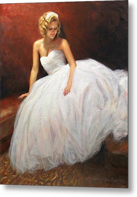 Cassie On Her Wedding Day Metal Print by Anna Rose Bain
