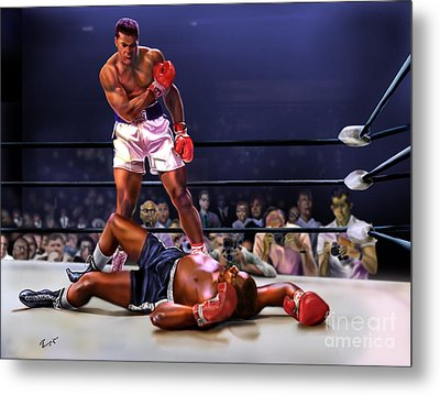 Cassius Clay Vs Sonny Liston Metal Print by Reggie Duffie