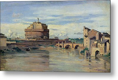Castel Sant Angelo And The River Tiber Metal Print by Jean Baptiste Camille Corot