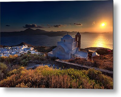 Castle In Milos At Plakas Metal Print by Andres Leon