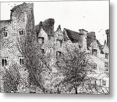 Castle Ruins At Hay On Wye Metal Print by Vincent Alexander Booth