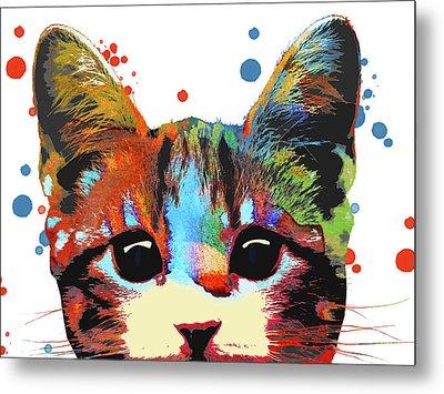 Cat Face Metal Print by Mihaela Pater