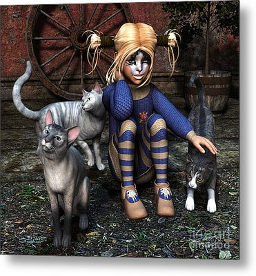 Cat Girl Metal Print by Jutta Maria Pusl