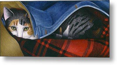 Cat In Denim Jacket Metal Print by Carol Wilson