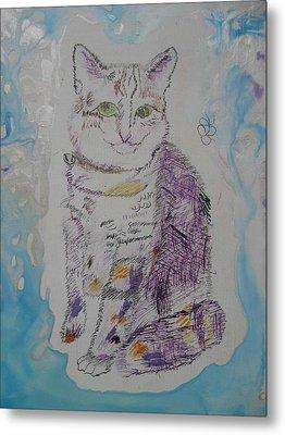 Cat Named Jade Metal Print by AJ Brown