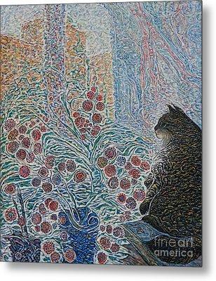 Cat On My Window Metal Print by Anna Yurasovsky