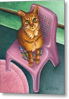 Cat Sitting On A Painted Chair Metal Print by Carol Wilson