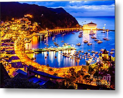 Catalina Island Avalon Bay At Night Metal Print by Paul Velgos