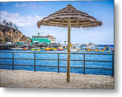 Catalina Island Straw Umbrella Picture Metal Print by Paul Velgos
