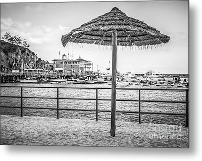 Catalina Island Umbrella In Black And White Metal Print by Paul Velgos