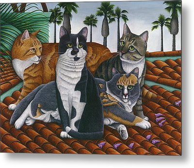 Cats Up On The Roof Metal Print by Carol Wilson