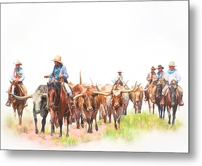 Cattle Drive Metal Print by David and Carol Kelly